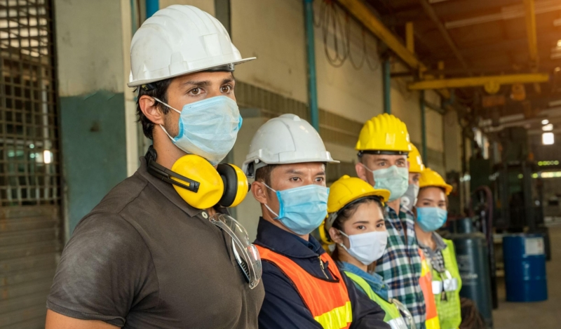 construction workers with masks
